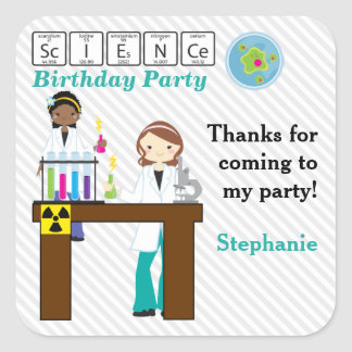 Thank You Science Party Girls Square Sticker