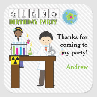 Thank You Science Party Kids Square Sticker