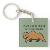 Thank You Scout Leader Artistic Brown Bear Keychain