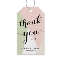 Thank You Script | Blush & Mint Geometric Pattern Gift Tags