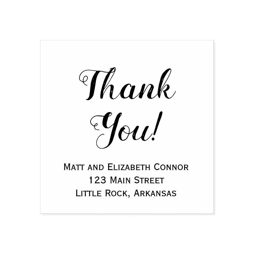 Thank you script decorative font stamp