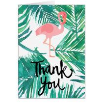 thank you script flamingo on tropical pattern