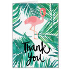 thank you script flamingo on tropical pattern card