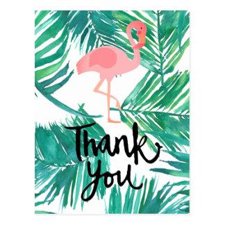 thank you script flamingo tropical palms postcard