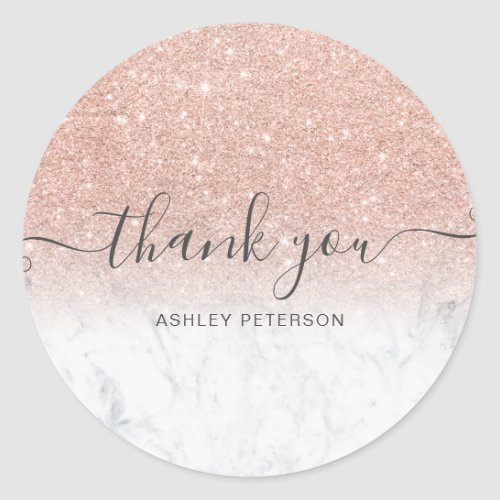 Thank you  script marble rose gold glitter ombre classic round sticker