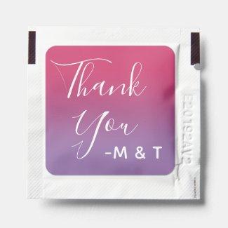 Thank You Script Pink Purple Ombré Wedding Hand Sanitizer Packet