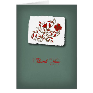 Thank You Script with Flowers Card