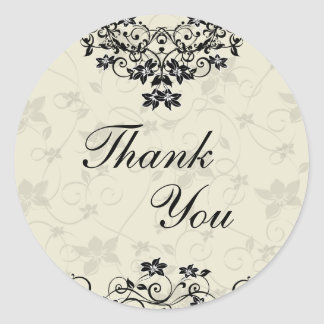 Thank You Seal - Black and White Floral Classic Round Sticker