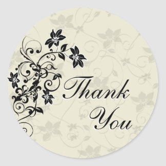 Thank You Seal - Black and White Floral Stickers