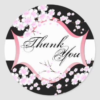 Thank You Seal - Black & White Blossoms Wedding Classic Round Sticker