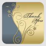 Thank You Seal - Classy Blue & Gold Wedding Stickers