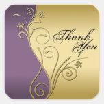 Thank You Seal - Classy Purple & Gold Wedding Square Sticker