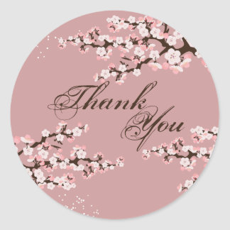 Thank You Seal - Dusty Rose Cherry Blossom Wedding Classic Round Sticker