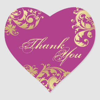 Thank You Seal - Fuschia & Gold Floral Wedding Stickers