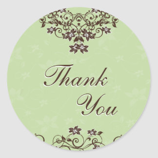 Thank You Seal - Mint Green & Chocolate Brown Classic Round Sticker