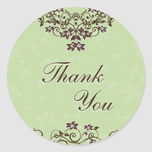 Thank You Seal - Mint Green & Chocolate Brown Round Stickers