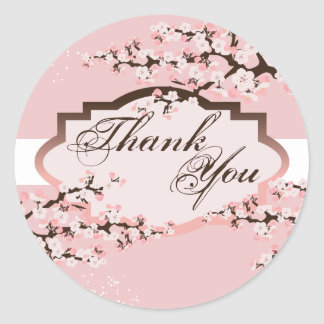 Thank You Seal - Pink Cherry Blossom Wedding Sticker