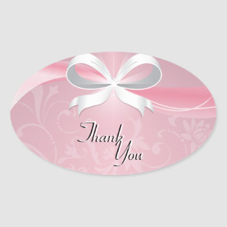 Thank You Seal Pink & White Floral Ribbon Wedding