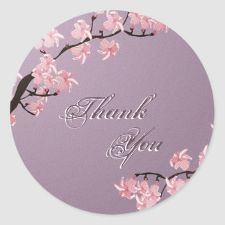 Thank You Seal Purple Pink Cherry Blossom Wedding Classic Round Sticker