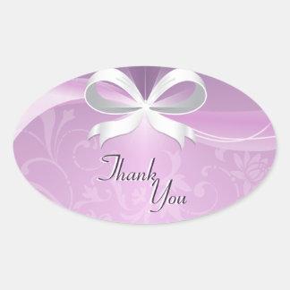 Thank You Seal Purple White Floral Ribbon Wedding