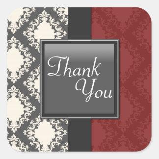 Thank You Seal - Red Black & White Damask Wedding