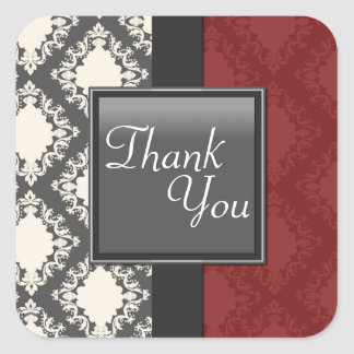 Thank You Seal - Red Black & White Damask Wedding Square Sticker