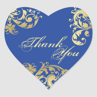 Thank You Seal - Royal Blue & Gold Floral Wedding Heart Sticker