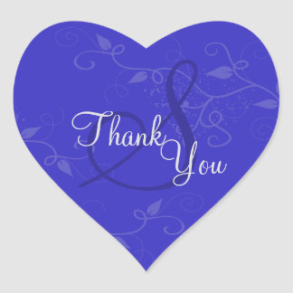 Thank You Seal - Royal Blue Monogram Wedding Heart Stickers