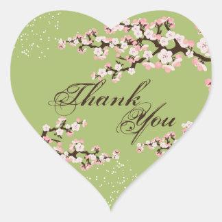 Thank You Seal - Sage Green Cherry Blossom Wedding Heart Sticker