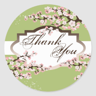 Thank You Seal - Sage Green Cherry Blossom Wedding Stickers
