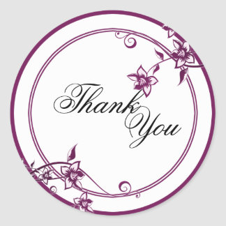 Thank You Seal - Sangria & White Floral Wedding Classic Round Sticker