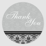 Thank You Seal - Slate Grey Damask Wedding Classic Round Sticker