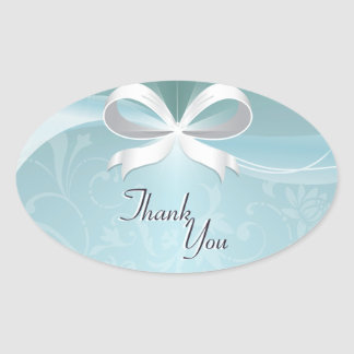 Thank You Seal Teal White Floral Ribbon Wedding