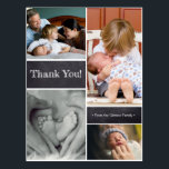 "Thank you, second baby birth announcement postcard<br><div class=""desc"">Personalized this vertical format, collage baby thank you card with your favorite photos. The postcard is perfect for expressing your excitement in announcing the birth of your second child and send your family&#39;s gratitude at the same time. The words, photos, greeting and sign-off can be easily customized as needed. Pro...</div>"