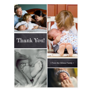 Thank you, second baby birth announcement postcard