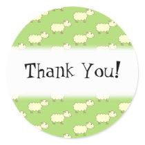 Thank You. Sheep Pattern. Classic Round Sticker