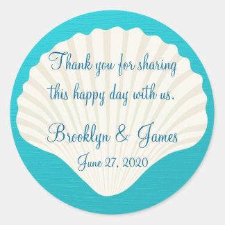 Thank You Shells On Beach Wedding Stickers