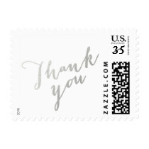 Thank You Silver Elegant Script Small Postage