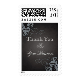 Thank You Silver Scroll Black Postage Stamp