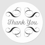 Thank You - Simple Black and White with Scrolls Classic Round Sticker