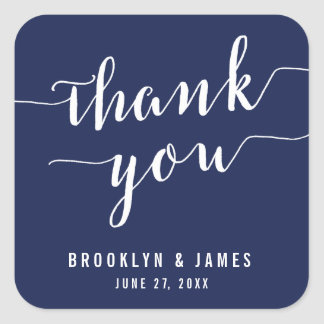 Thank You Simple Navy Blue Wedding Stickers