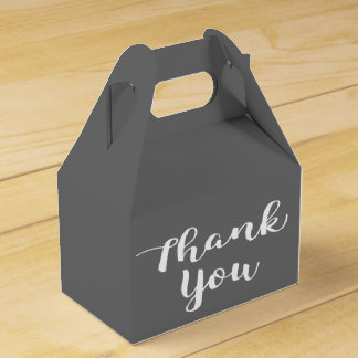 Thank You Slate Gray and White Wedding Party Grey Favor Box