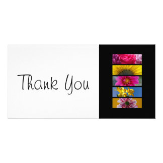 Thank You slim Card - Pink & Yellow Macro Flowers Personalized Photo Card