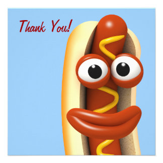 Thank You Smiling Hot Dog - Thankyou Custom Announcement