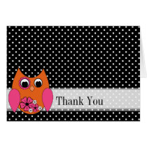 Thank You Snazzy Owl Trendy Blank Notecard