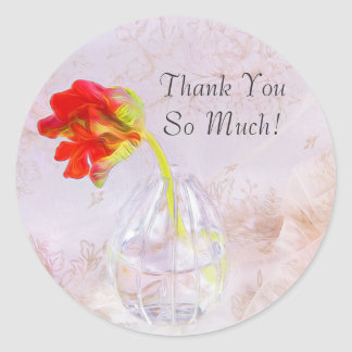 Thank You So Much Parrot Tulips Sticker