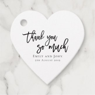 Thank you so much/your names & message wedding favor tags