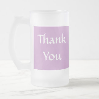 Thank You. Soft Dusky Purple and White. Frosted Glass Beer Mug