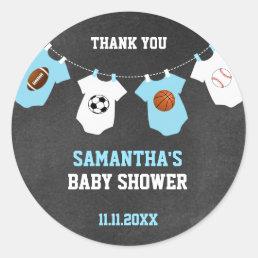 Thank You Sports Theme Baby Shower Chalkboard Boy Classic Round Sticker