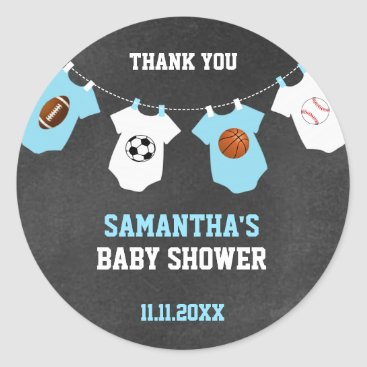 Toddler & Baby themed Thank You Sports Theme Baby Shower Chalkboard Boy Classic Round Sticker